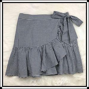 * 1901 Nordstrom Gingham Plaid Ruffle Skirt Bow *